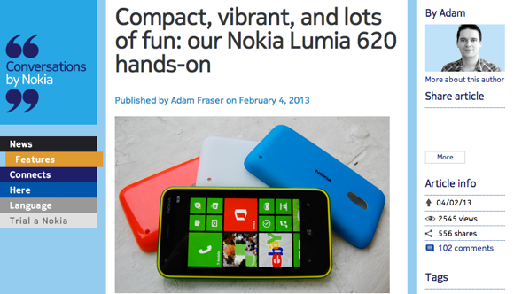 nokia blog screen grab